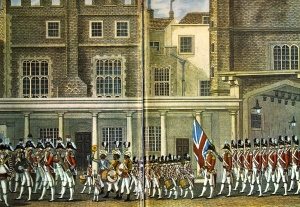 British Band in St. James courtyard. c. 1790.