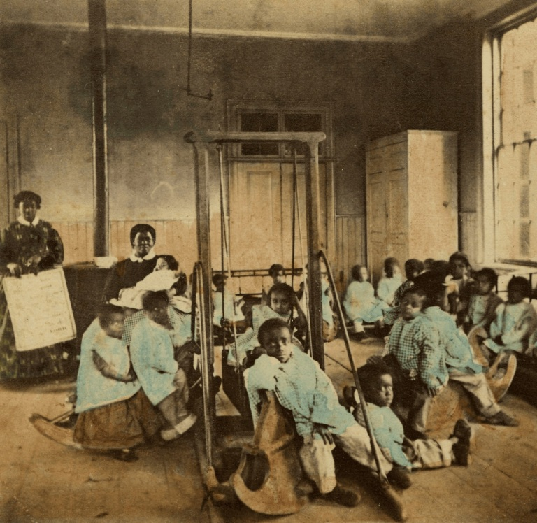African American Orphans and Their Caregivers in the Interior Playroom of the Colored Orphan Asylum, New York City (1860)