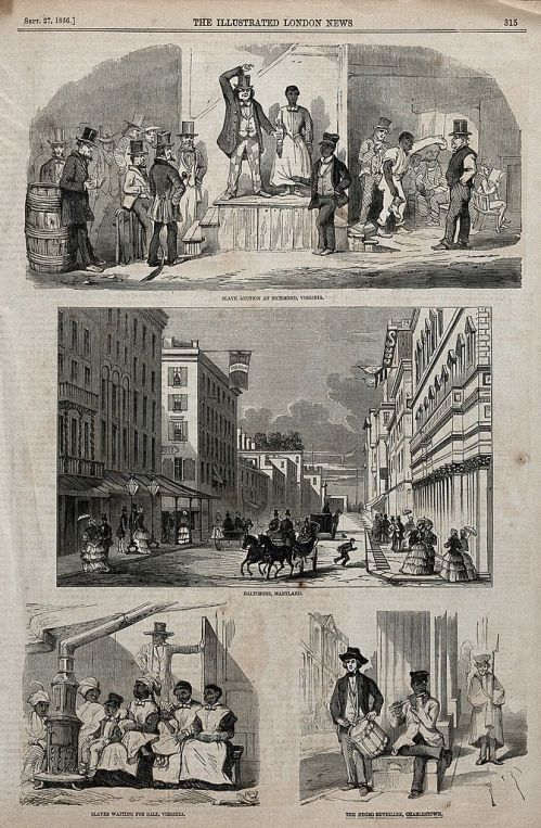 """Three Scenes From the Slave Trade in the USA,"" The Illustrated London News, September 27, 1856. Photo Credit: Wikimedia Commons"